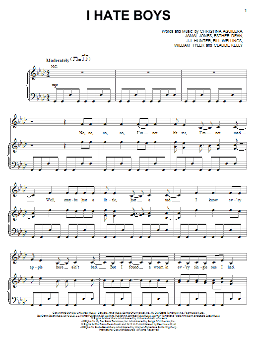Download Christina Aguilera I Hate Boys sheet music and printable PDF score & Pop music notes