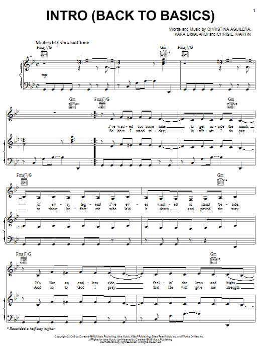 Download Christina Aguilera Intro (Back To Basics) sheet music and printable PDF score & Pop music notes