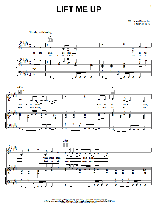 Download Christina Aguilera Lift Me Up sheet music and printable PDF score & Pop music notes