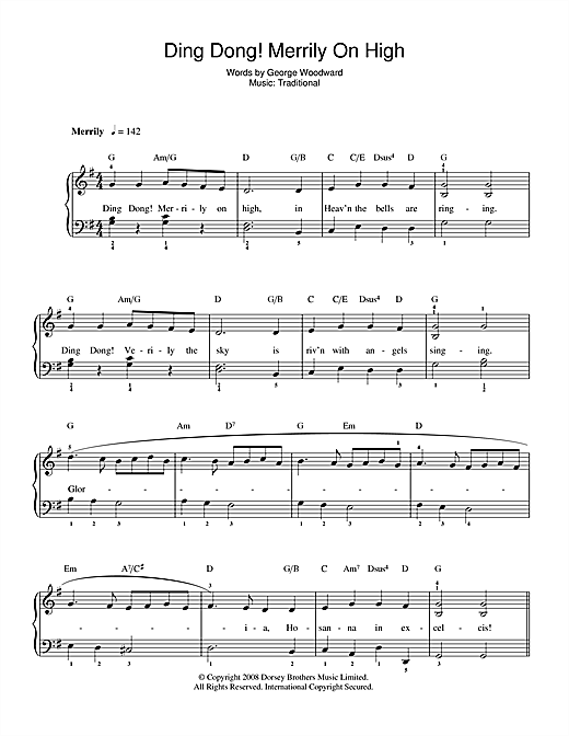 Download Christmas Carol Ding Dong! Merrily On High sheet music and printable PDF score & Traditional music notes