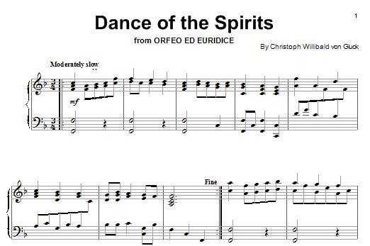 Download Christoph Willibald von Gluck Dance Of The Blessed Spirits (from Orfeo ed Euridice) sheet music and printable PDF score & Classical music notes