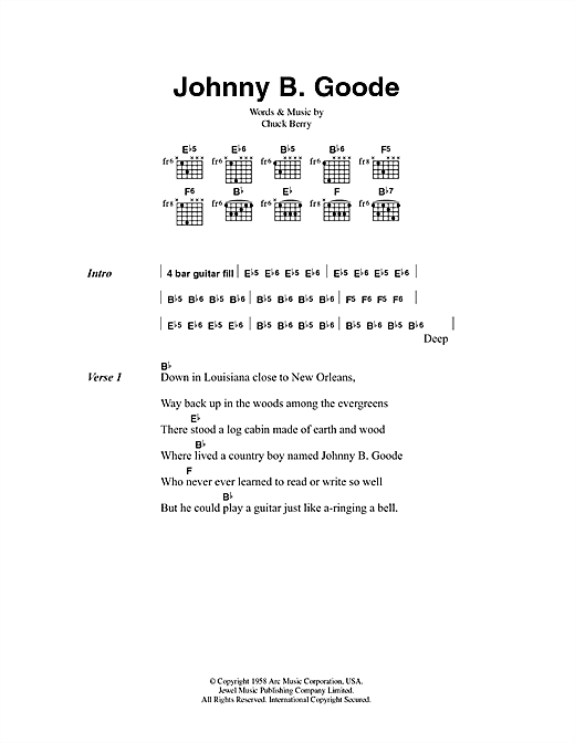 Download Chuck Berry Johnny B. Goode sheet music and printable PDF score & Pop music notes