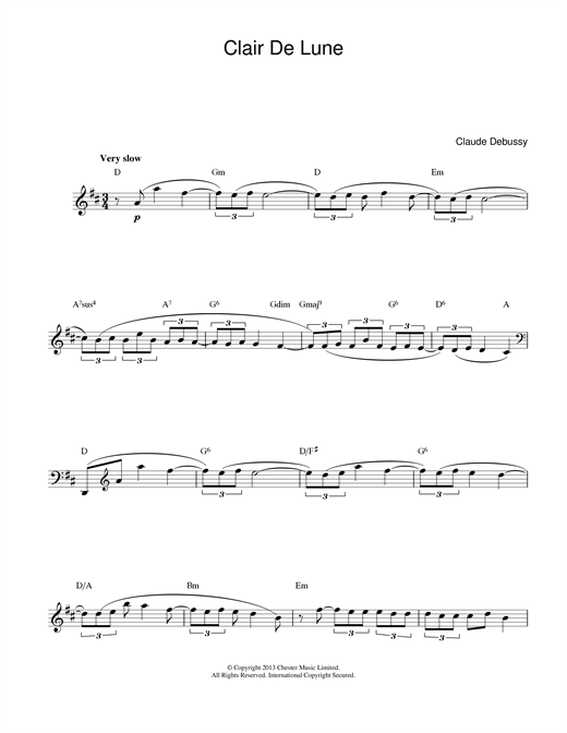 Download Claude Debussy Clair De Lune sheet music and printable PDF score & Classical music notes