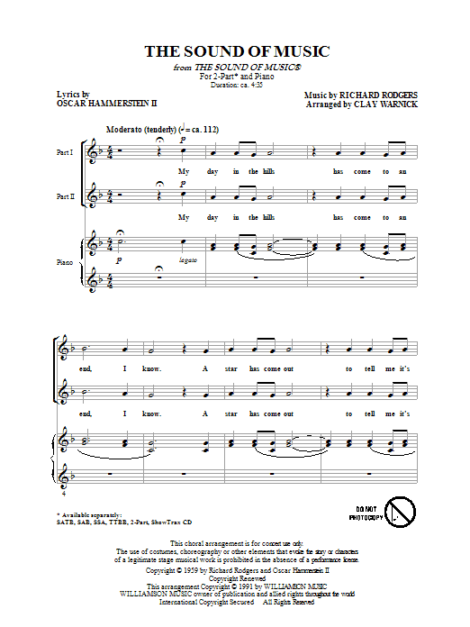 Download Rodgers & Hammerstein The Sound of Music (arr. Clay Warnick) sheet music and printable PDF score & Broadway music notes