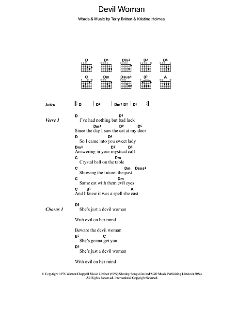 Download Cliff Richard Devil Woman sheet music and printable PDF score & Pop music notes