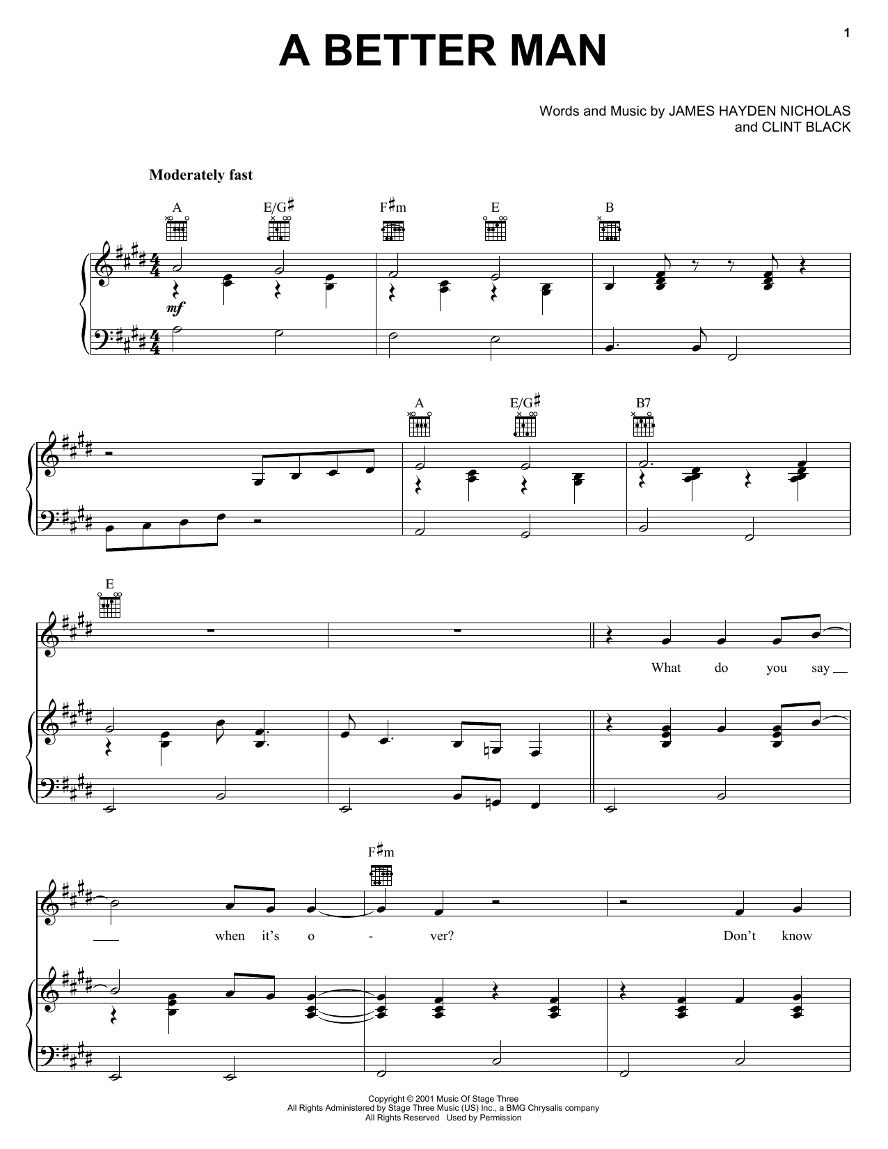 Download Clint Black A Better Man sheet music and printable PDF score & Pop music notes