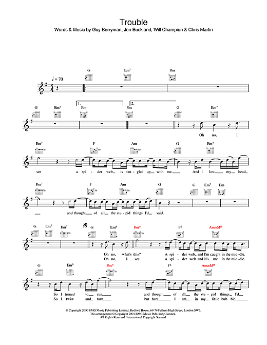 Download Coldplay Trouble sheet music and printable PDF score & Rock music notes