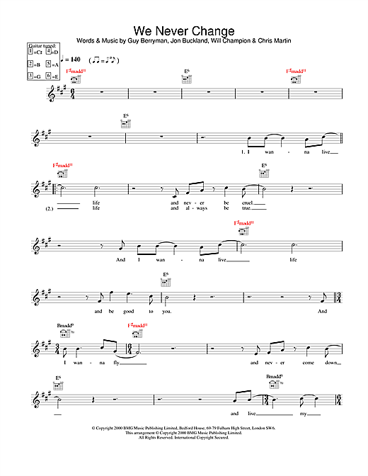 Download Coldplay We Never Change sheet music and printable PDF score & Pop music notes