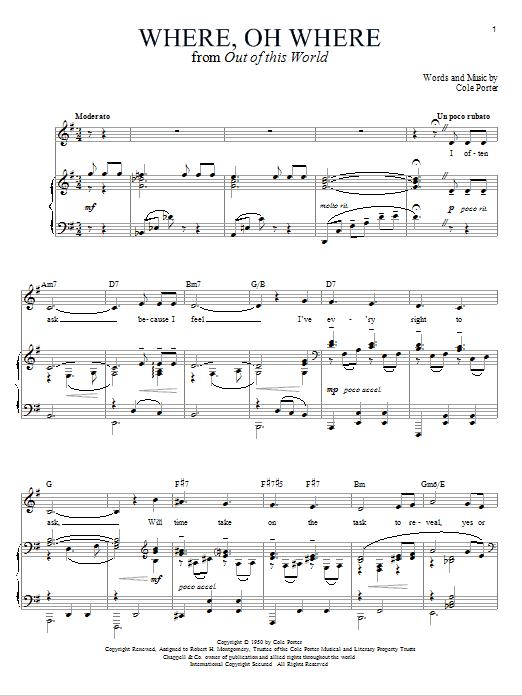 Download Cole Porter Where, Oh Where sheet music and printable PDF score & Pop music notes