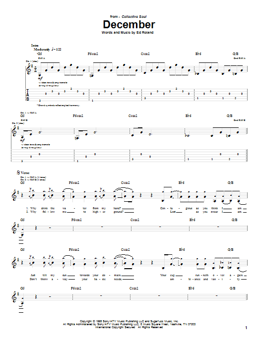 Download Collective Soul December sheet music and printable PDF score & Rock music notes