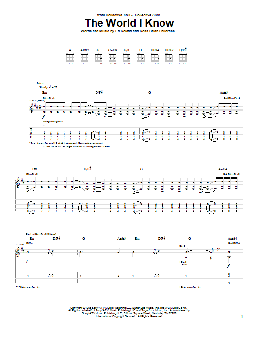 Download Collective Soul The World I Know sheet music and printable PDF score & Rock music notes
