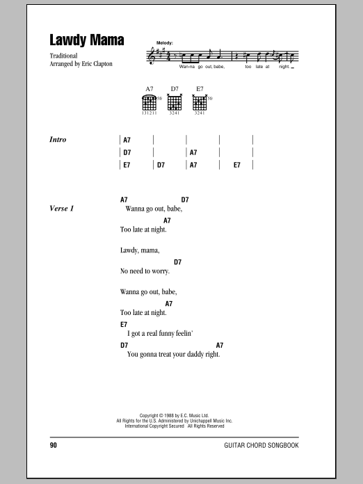 Download Cream Lawdy Mama sheet music and printable PDF score & Rock music notes