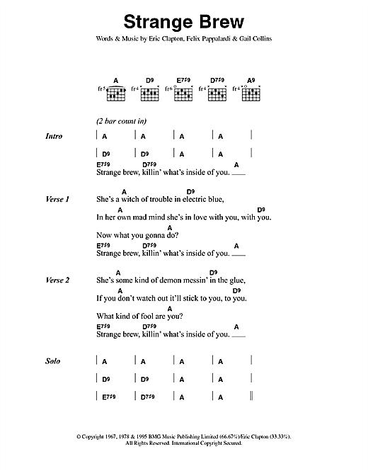 Download Cream Strange Brew sheet music and printable PDF score & Rock music notes