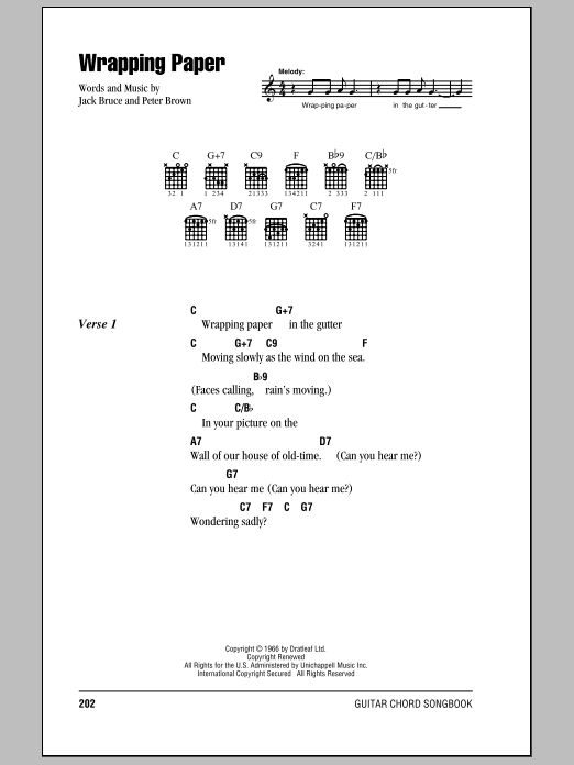 Download Cream Wrapping Paper sheet music and printable PDF score & Rock music notes