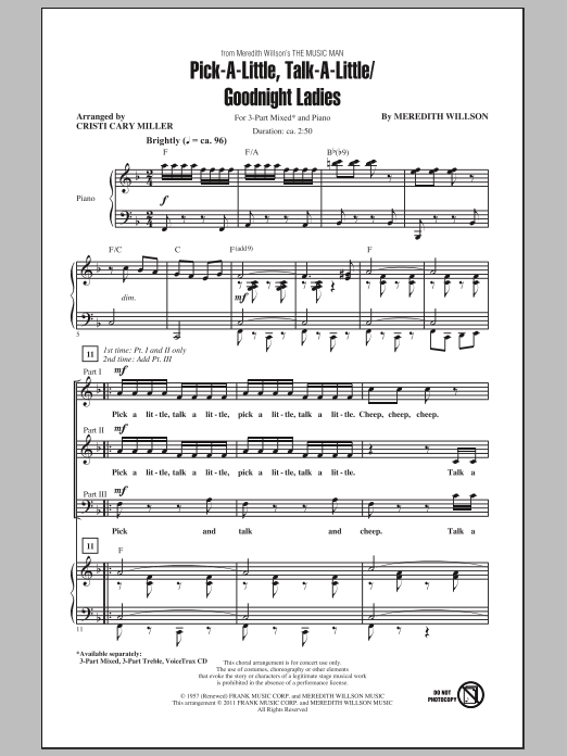 Download Cristi Cary Miller Pick-A-Little, Talk-A-Little / Goodnight Ladies sheet music and printable PDF score & Concert music notes