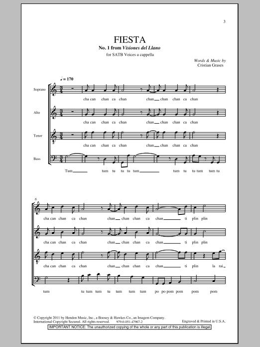 Download Cristian Grases Fiesta (No. 1 From Visiones Dellano) sheet music and printable PDF score & Festival music notes