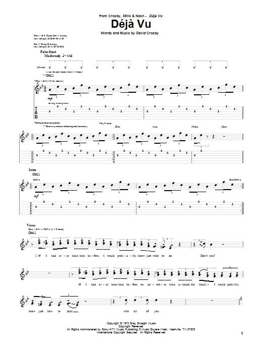 Download Crosby, Stills & Nash Deja Vu sheet music and printable PDF score & Pop music notes