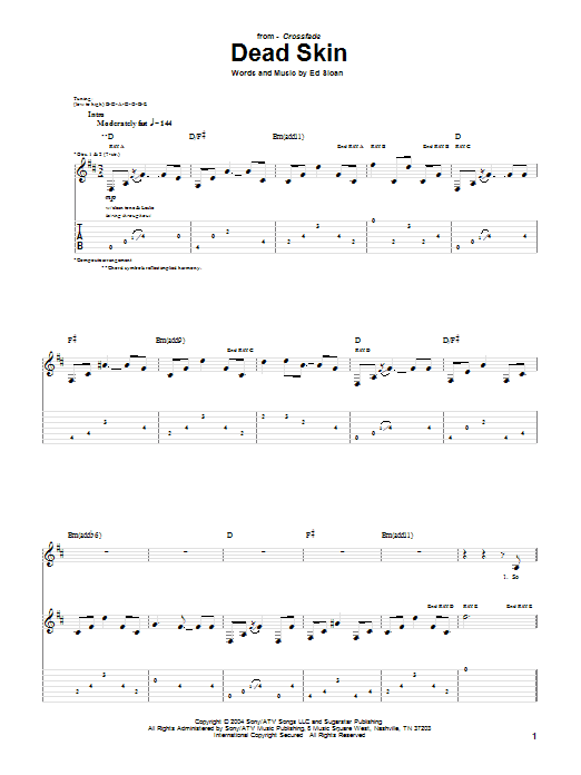 Download Crossfade Dead Skin sheet music and printable PDF score & Pop music notes