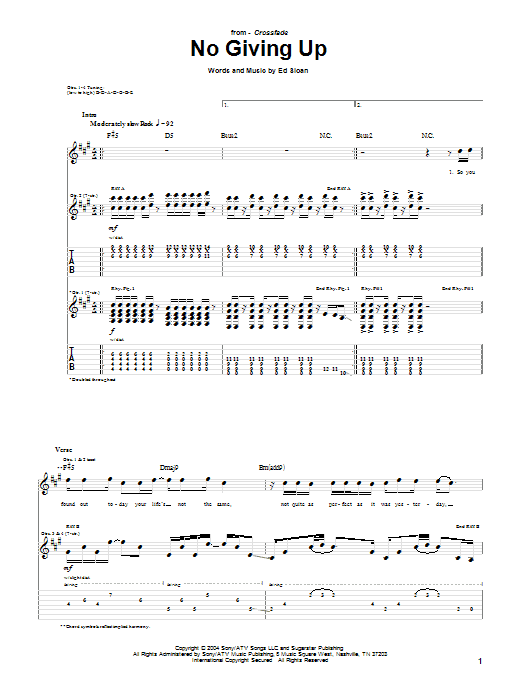 Download Crossfade No Giving Up sheet music and printable PDF score & Pop music notes