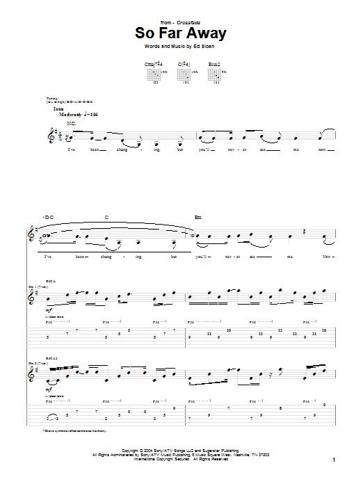 Download Crossfade So Far Away sheet music and printable PDF score & Pop music notes