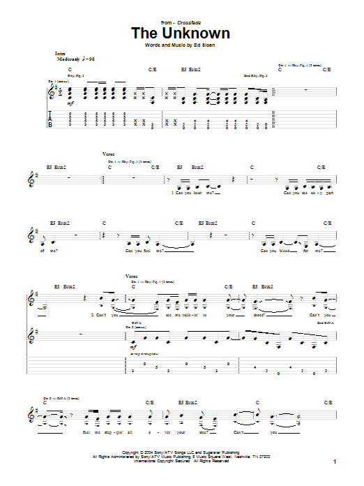 Download Crossfade The Unknown sheet music and printable PDF score & Pop music notes