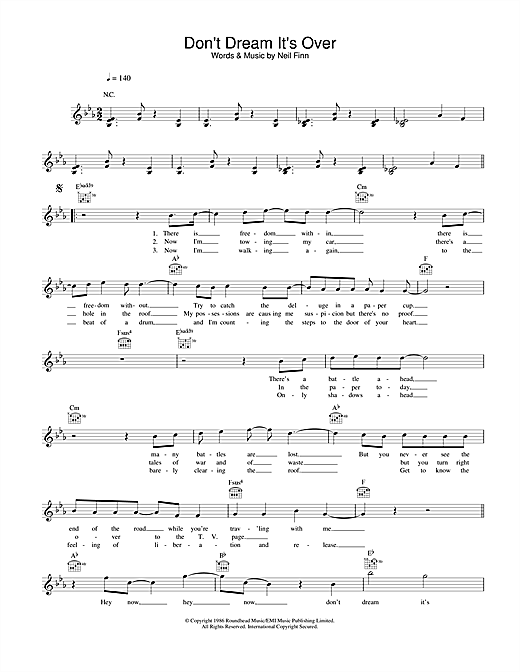 Download Crowded House Don't Dream It's Over sheet music and printable PDF score & Rock music notes