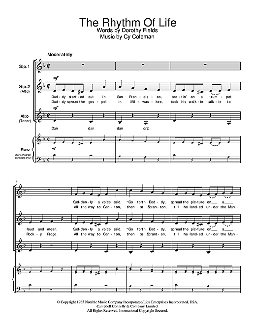 Download Cy Coleman The Rhythm Of Life sheet music and printable PDF score & Broadway music notes