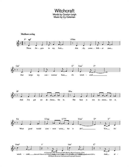 Download Cy Coleman Witchcraft sheet music and printable PDF score & Folk music notes