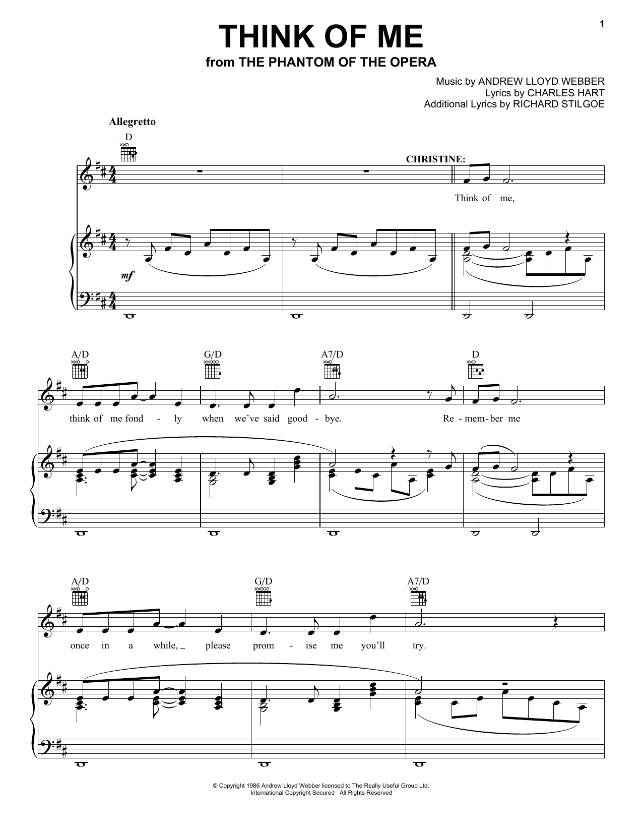 Andrew Lloyd Webber Think Of Me From The Phantom Of The Opera Sheet Music Download Printable Musical Show Pdf Piano Vocal Score Sku 97035