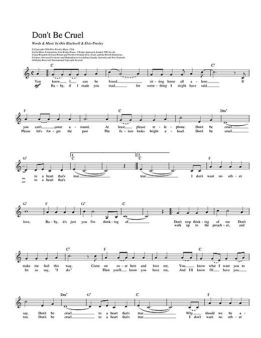 Elvis Presley Don T Be Cruel Sheet Music Download Printable Pop Pdf Lead Sheet Fake Book Score Sku 14024