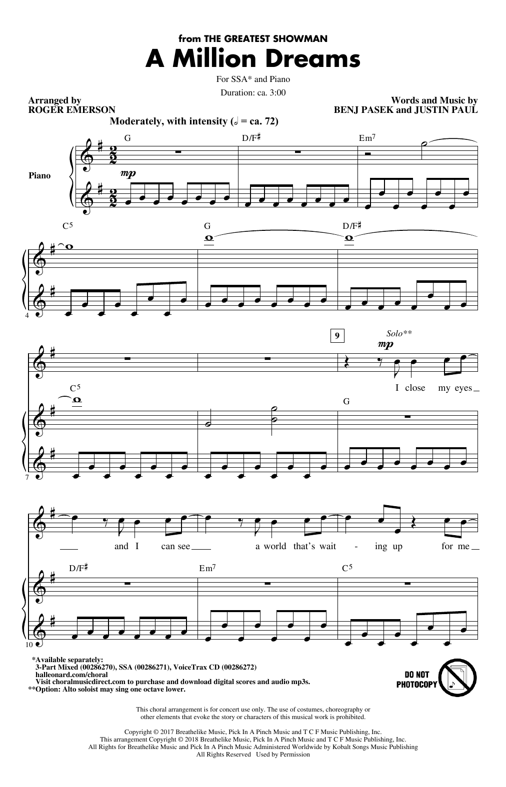 Pasek Paul A Million Dreams From The Greatest Showman Arr Roger Emerson Sheet Music Download Printable Film Tv Pdf Score How To Play On Ssa Choir Sku 407165