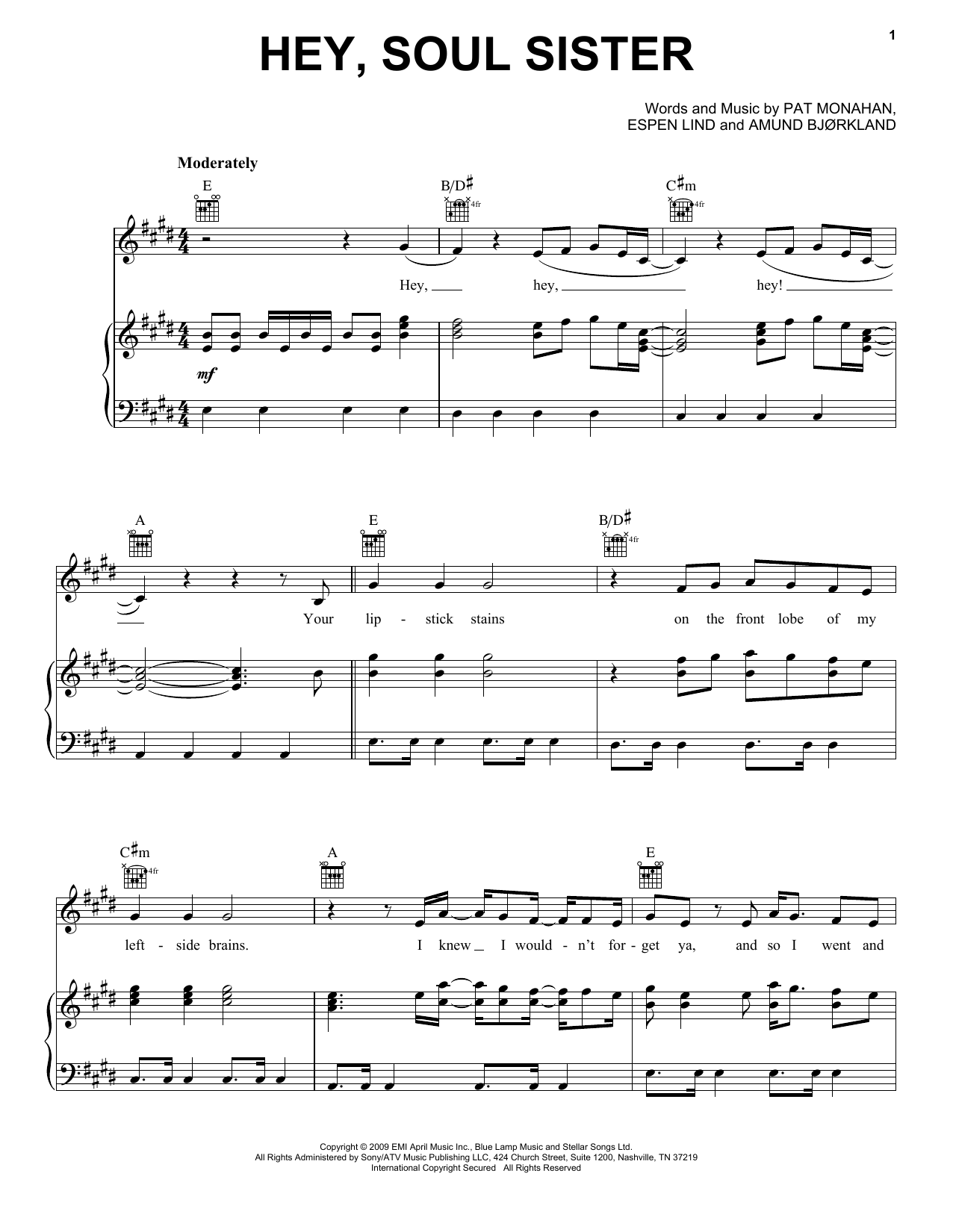 Train Hey, Soul Sister Sheet Music, Notes & Chords