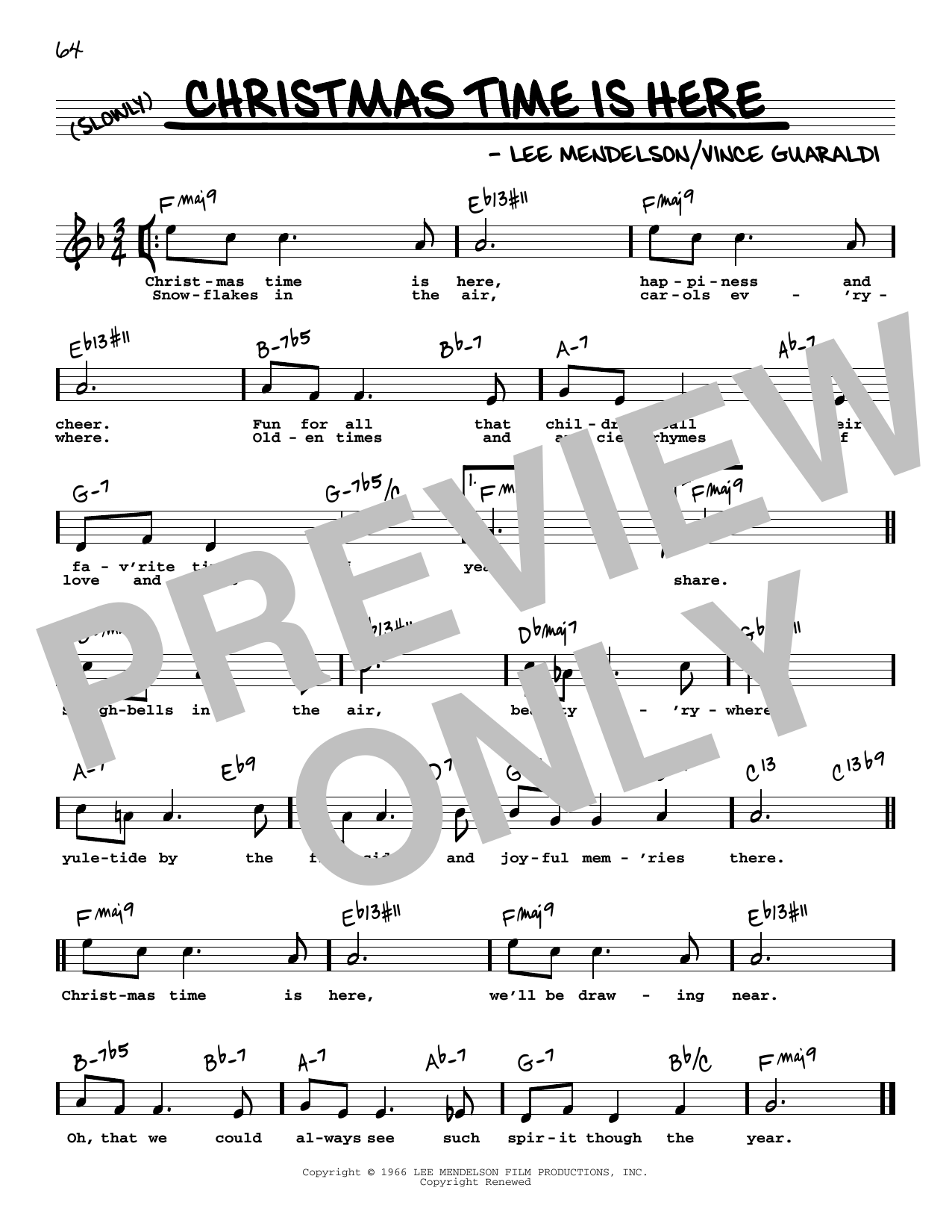 Vince Guaraldi Christmas Time Is Here High Voice Sheet Music, Notes &  Chords