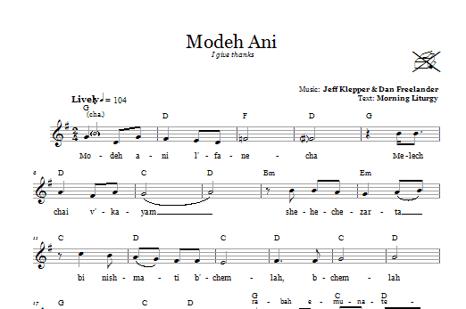 Download Dan Freelander Modeh Ani (I Give Thanks) sheet music and printable PDF score & Religious music notes