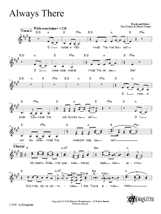 Download Dan Nichols Always There sheet music and printable PDF score & Religious music notes