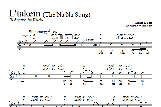 Download Dan Nichols L'takein (The Na Na Song) sheet music and printable PDF score & Religious music notes