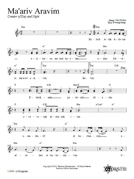 Download Dan Nichols Ma'ariv Aravim sheet music and printable PDF score & Religious music notes