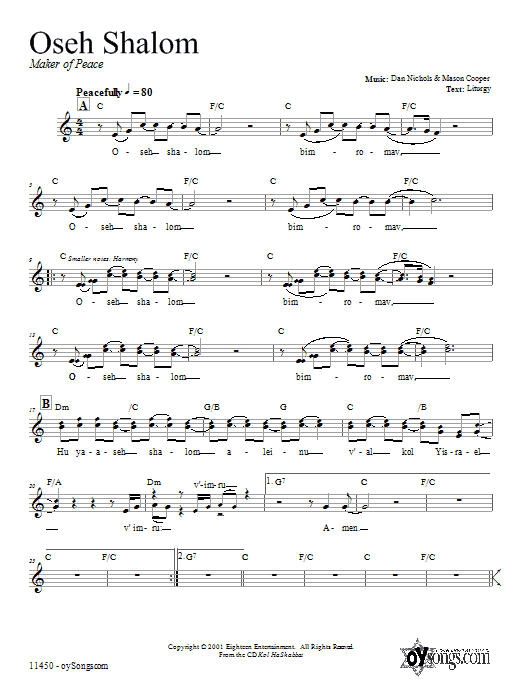 Download Dan Nichols Oseh Shalom sheet music and printable PDF score & Religious music notes