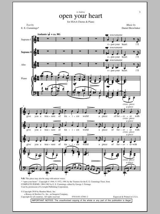 Download Daniel Brewbaker Open Your Heart sheet music and printable PDF score & Concert music notes