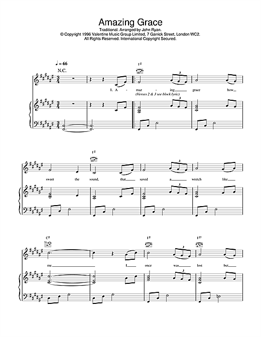Daniel O'Donnell 'Amazing Grace' Sheet Music Notes, Chords | Download  Printable Piano, Vocal & Guitar (Right-Hand Melody) - SKU: 17409