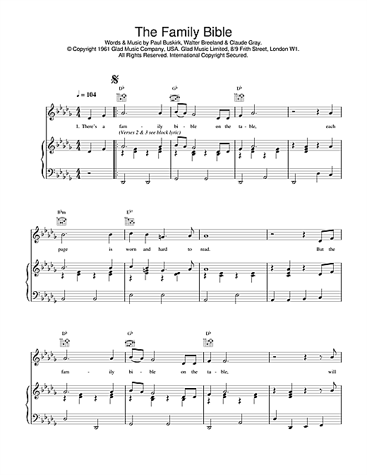 Daniel O'Donnell 'The Family Bible' Sheet Music Notes, Chords | Download  Printable Piano, Vocal & Guitar (Right-Hand Melody) - SKU: 17420