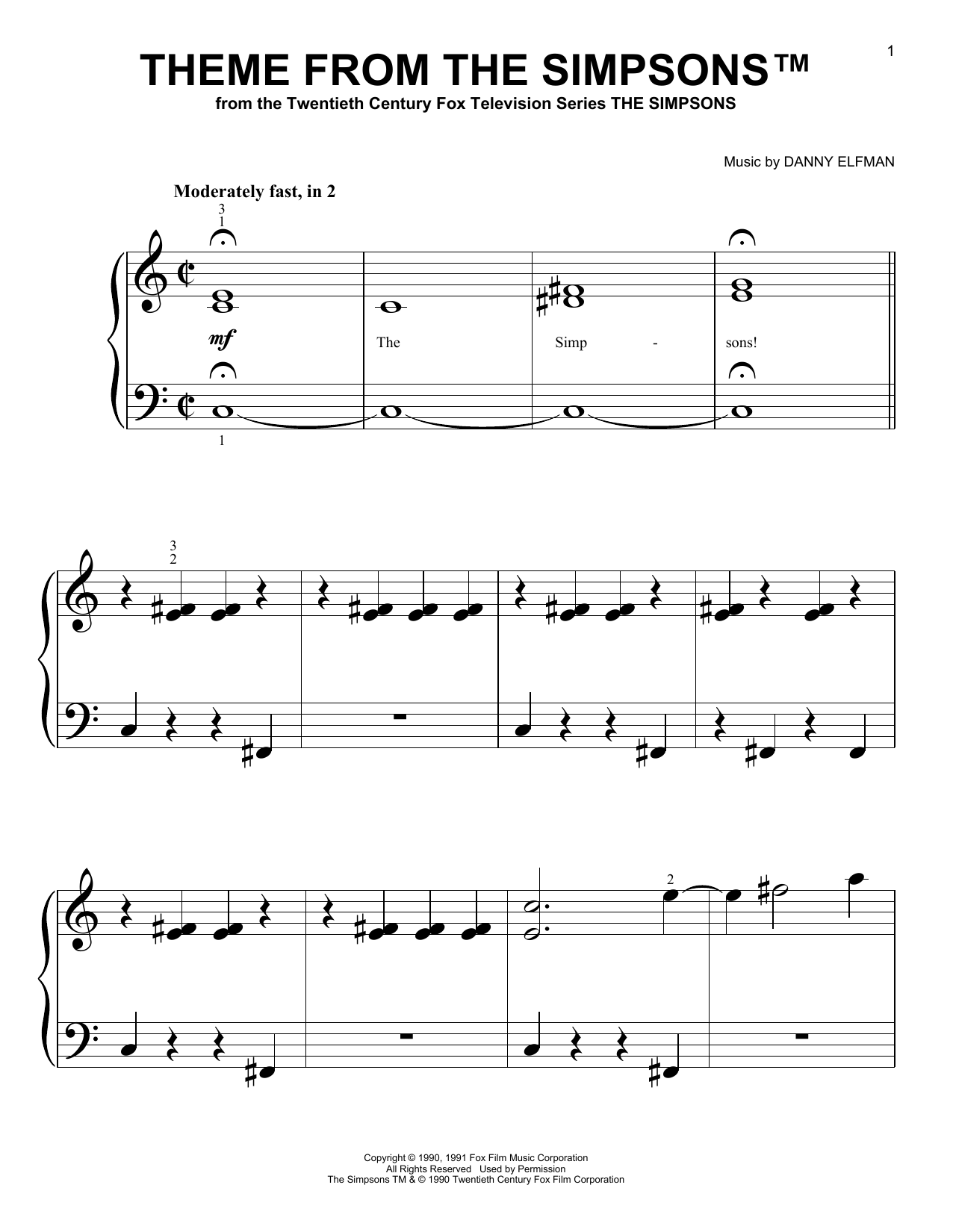 Download Danny Elfman Theme From The Simpsons sheet music and printable PDF score & Pop music notes