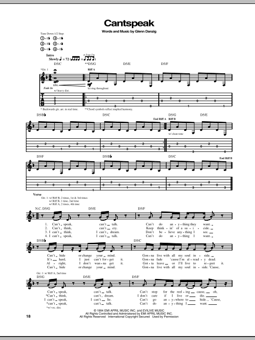 Download Danzig Cantspeak sheet music and printable PDF score & Pop music notes
