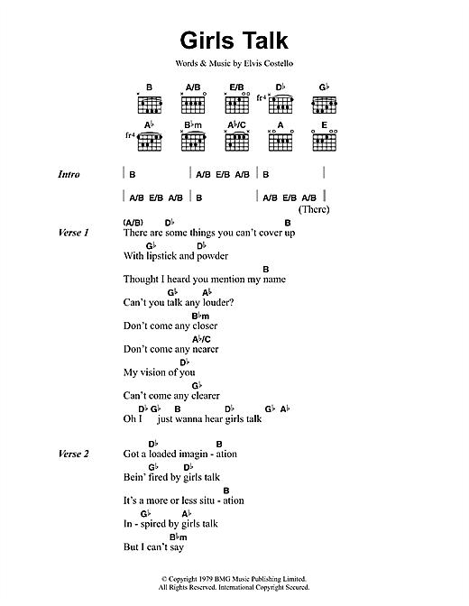 Download Dave Edmunds Girls Talk sheet music and printable PDF score & Rock music notes