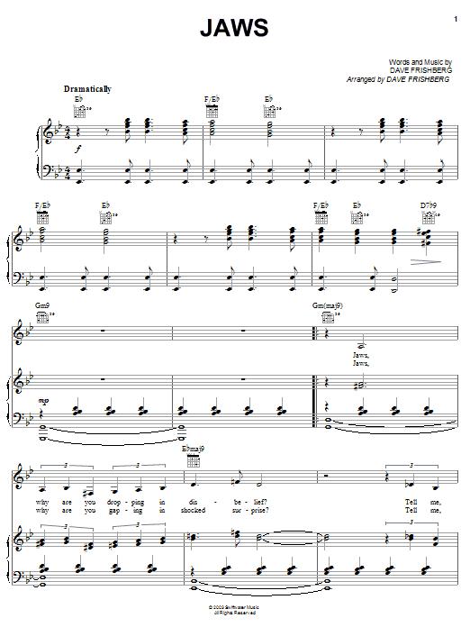 Download Dave Frishberg Jaws sheet music and printable PDF score & Pop music notes