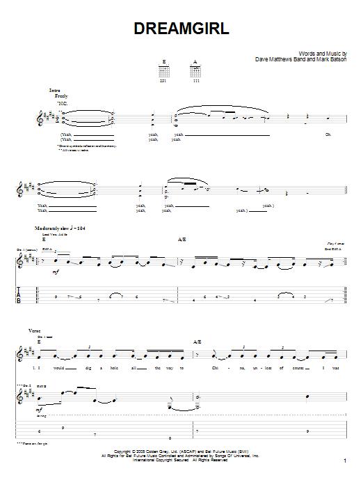 Download Dave Matthews Band Dreamgirl sheet music and printable PDF score & Rock music notes