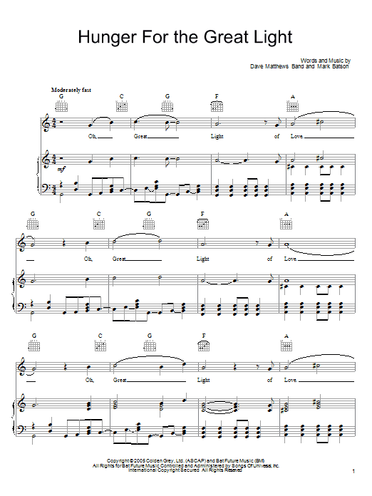 Download Dave Matthews Band Hunger For The Great Light sheet music and printable PDF score & Rock music notes