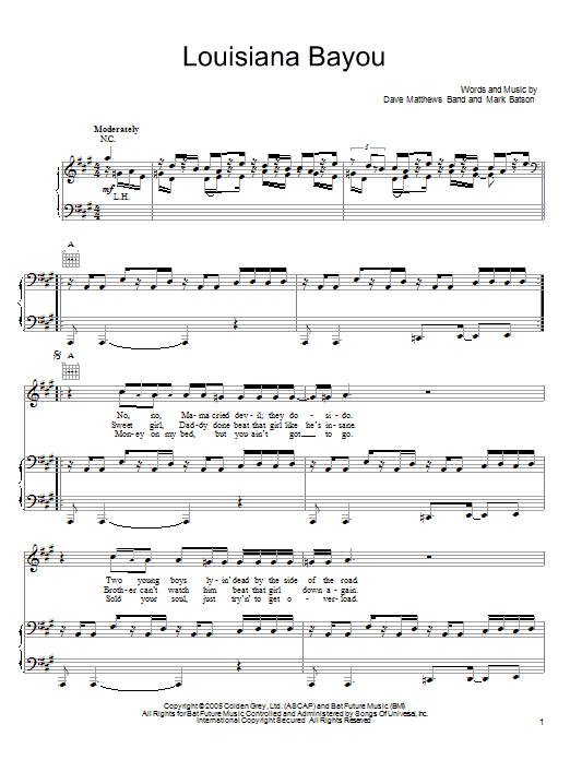 Download Dave Matthews Band Louisiana Bayou sheet music and printable PDF score & Rock music notes