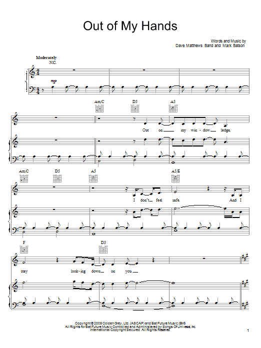 Download Dave Matthews Band Out Of My Hands sheet music and printable PDF score & Rock music notes