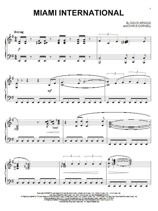 Download David Arnold Miami International sheet music and printable PDF score & Film and TV music notes